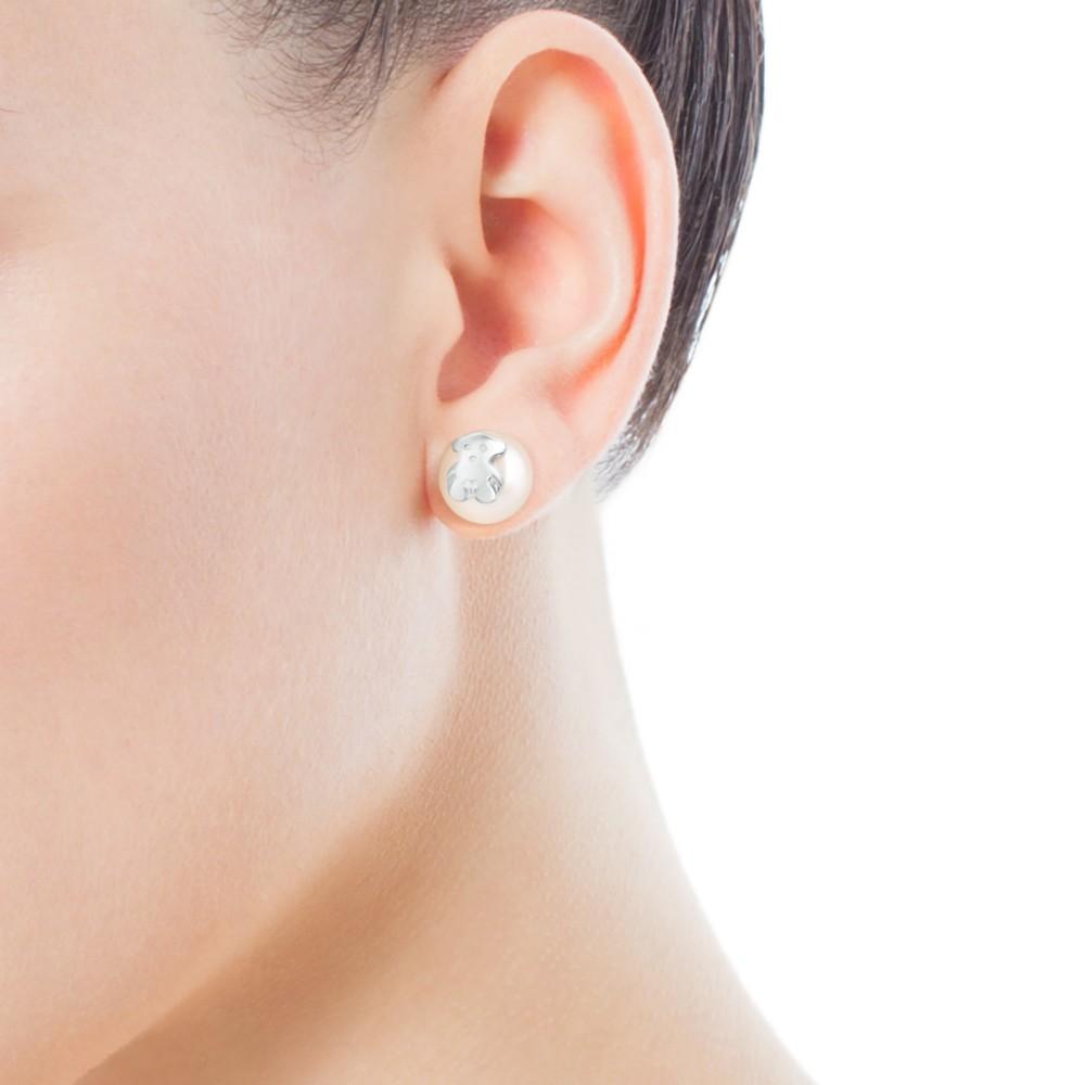 Silver Bear Pearl Earrings