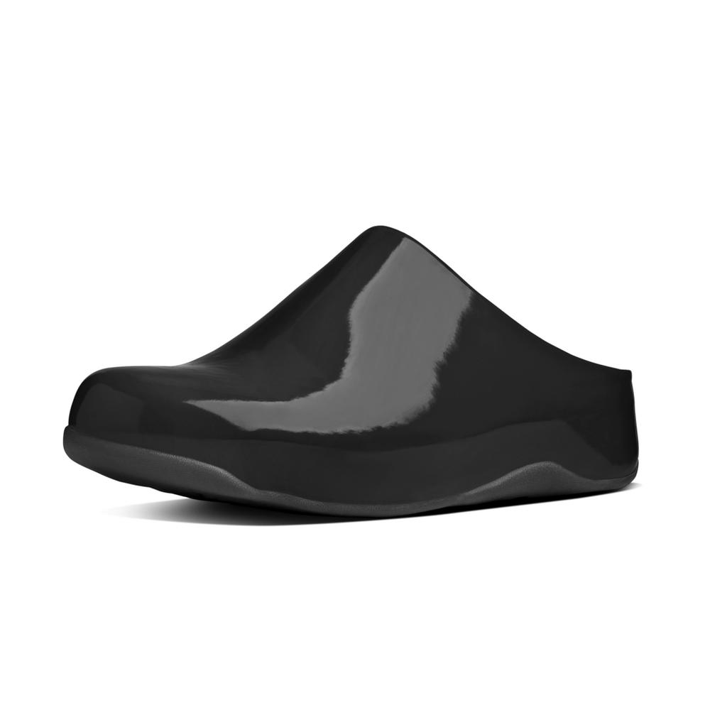 patent leather clogs