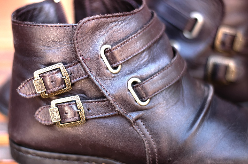 Boots with silver buckles