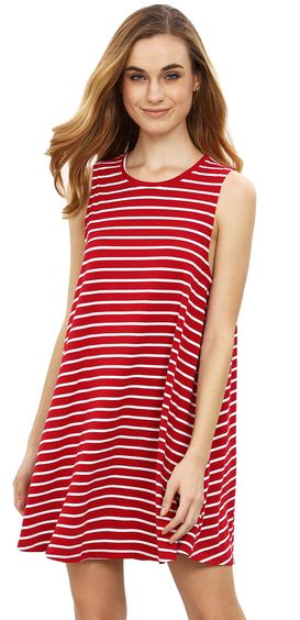 maroon-striped-sleeveless-dress