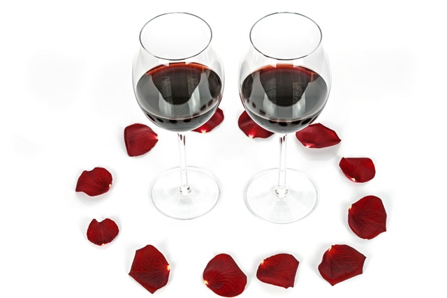 wine and rose petals