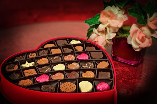 valentines chocolates in a box