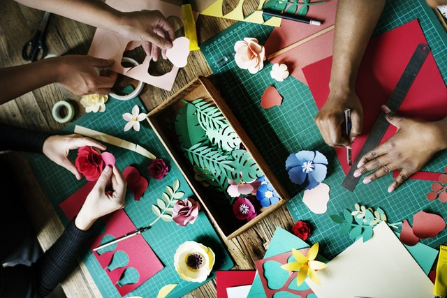 crafts on a table